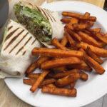 Falafal Wrap and Sweet Potatoes Fries